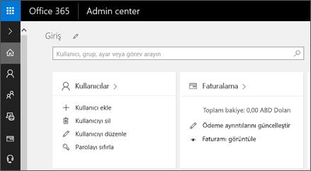 Office 365 Yönetim Merkezi'nde gösterir.