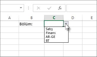 Excel'de örnek açılan liste