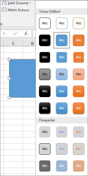 Windows için Excel 2016'da yeni önceden tanımlı stilleri gösteren şekil stili galerisi