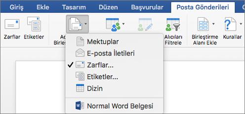 Posta Gönderileri sekmesinde, Adres Mektup Birleştirmeyi Başlat listesinden Zarflar'ı seçin
