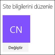 Site logosunu değiştirmeye yönelik SharePoint iletişim kutusunu gösteren ekran görüntüsü.