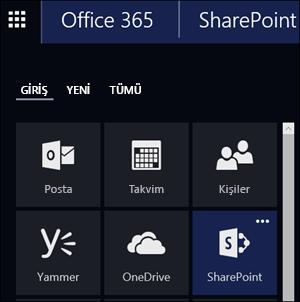 Office 365 uygulama başlatıcıda SharePoint kutucuğunu