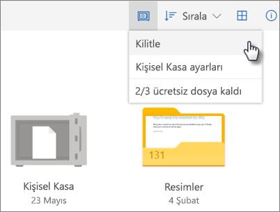 OneDrive'da Kişisel Kasa'yı kilitleme işleminin ekran görüntüsü