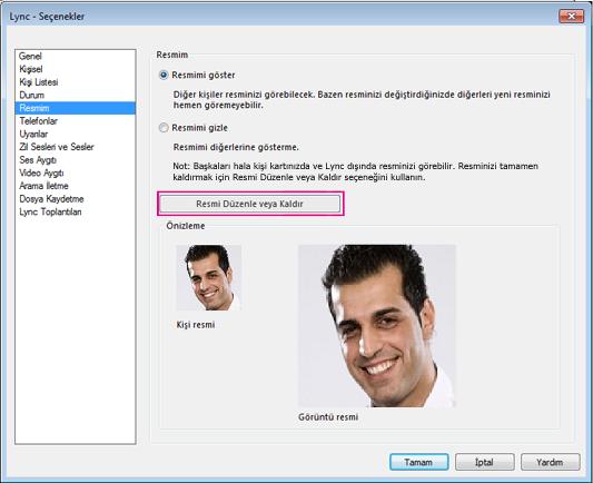 Resmi Değiştir veya Düzenle seçeneğinin vurgulandığı Resmim Seçenekleri penceresinin ekran görüntüsü