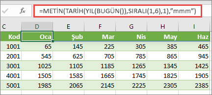 SIRALI işlevine sahip Excel çalışma sayfası