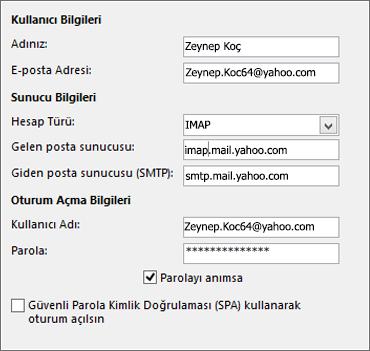 Yahoo için sunucu bilgilerinizi girin