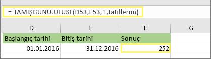 =TAMİŞGÜNÜ.ULUSL(D53,E53,1,Tatillerim) ve sonucu: 252