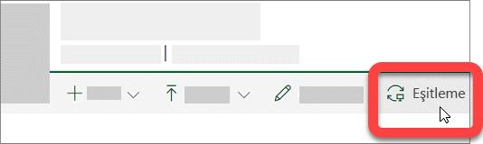 SharePoint kitaplığındaki Eşitle düğmesini gösteren ekran görüntüsü.