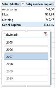 PivotTable'da yanlış sonuç satış yüzdesi toplamını