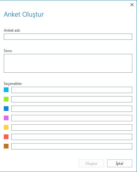 Anket oluşturma ekran görüntüsü