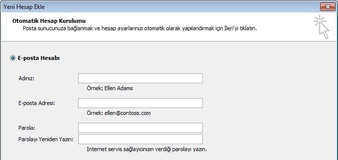 Outlook 2010 ad ve e-posta adresi ekleme