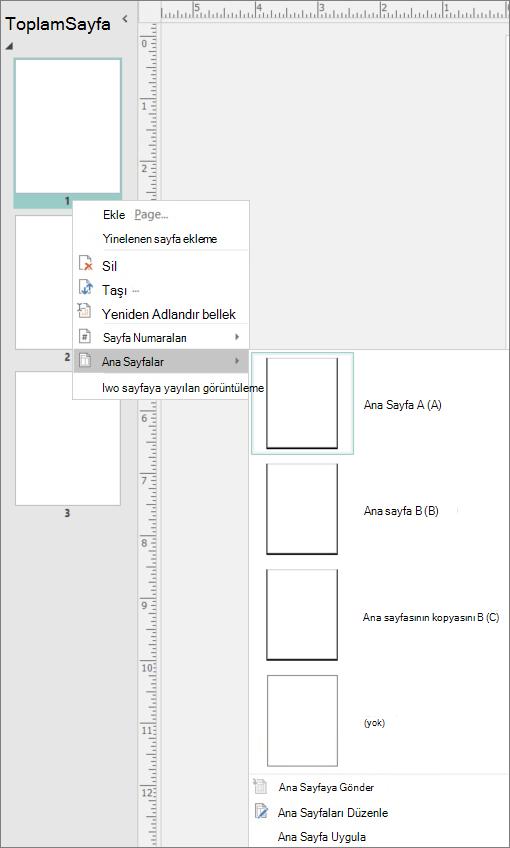 Bir ekran ile ana sayfa seçenekleri kullanılabilir ana sayfalar için seçili kısayol menüsü seçeneğini gösterir.