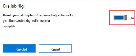 Microsoft Forms işbirliği ayarı