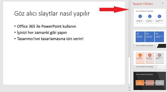 PowerPoint Tasarımcısının grafiğe dönüştürebileceği bir temel slayt örneği