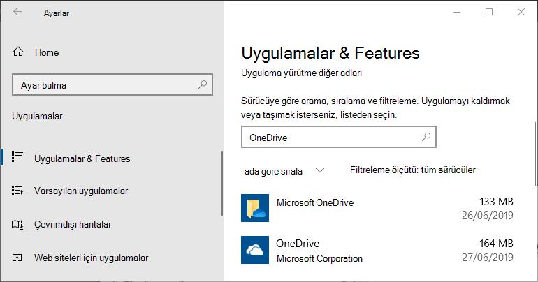 Windows Uygulama Ayarlarında OneDrive