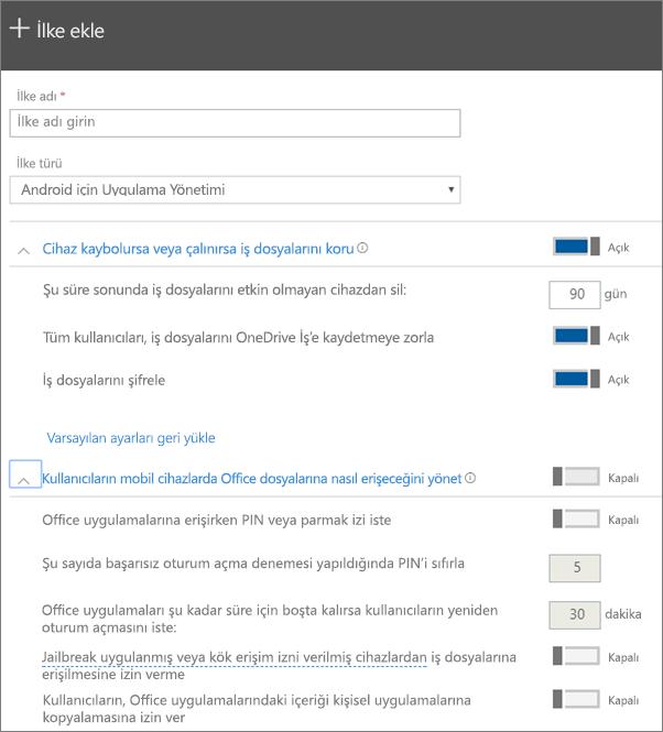Android için uygulama yönetimi seçeneğinin belirlendiği İlke oluşturma sayfasının ekran görüntüsü