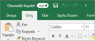 Excel'deki Otomatik Kaydetme anahtarını gösteren Başlık çubuğu
