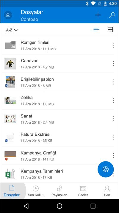 OneDrive mobil uygulamasında Dosyalar düğmesinin vurgulandığını gösteren ekran görüntüsü