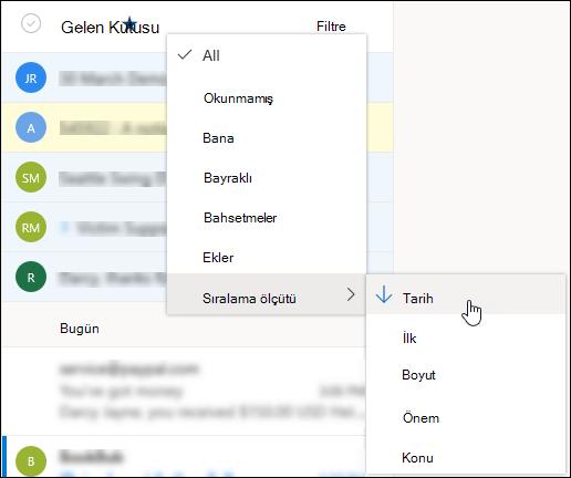 Sıralama ölçütü'nün seçili durumda olduğu Filtre menüsünün ekran görüntüsü