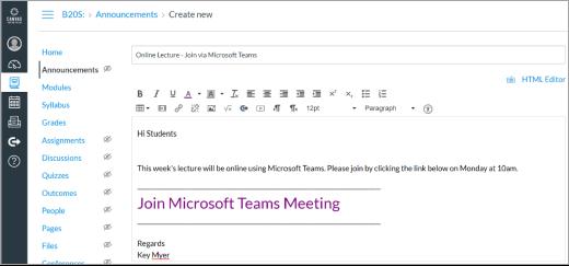 Tuval gönderisinde Microsoft ekipleri bağlantısı