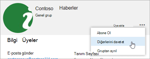 Başkalarının grubu kartının button davet et ekran görüntüsü.