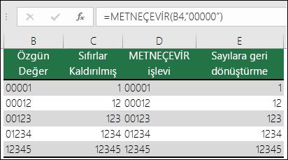 """Baştaki sıfırları biçimlendirmek için METNEÇEVİR formülünü kullanma örnekleri.  =METNEÇEVİR(A2,""""00000"""")"""