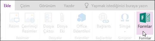 Web için OneNote 'ta form ekleme seçeneği