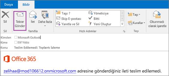 Ekran görüntüsü, geri dönen iletinin Rapor sekmesini gösterir; Yeniden Gönder seçeneği ve e-posta iletisinin gövdesinde iletinin teslim edilemediğini belirten bir metin vardır.