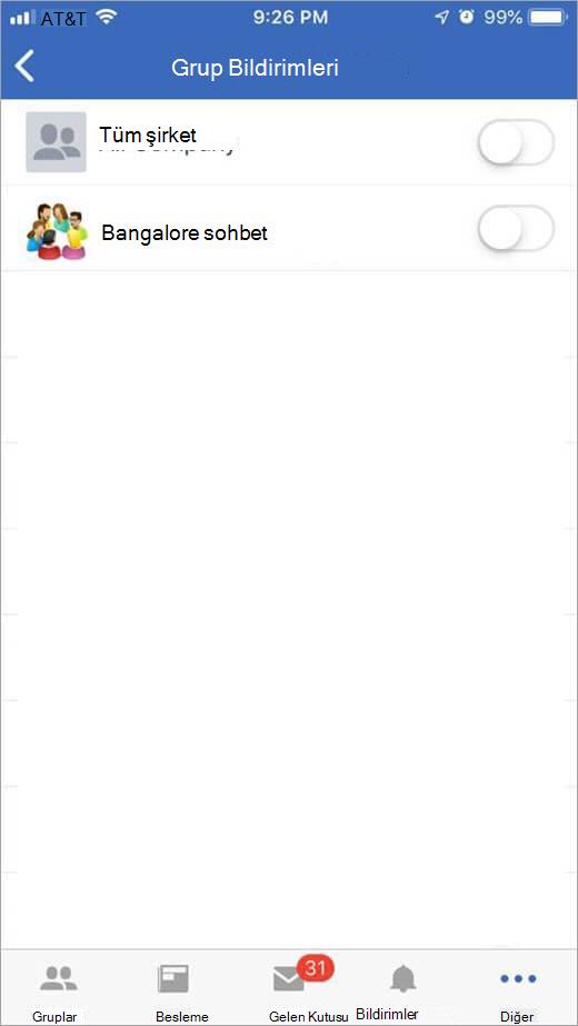 iOS Yammer sayfa gelen bildirimleri almak için grupları seçme