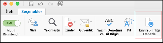 Outlook'ta Erişilebilirlik Denetleyicisi'ni açmak için kullanıcı arabiriminin ekran görüntüsü