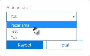Cihaz panelinde, uygulanacak Atanan profilini seçin.