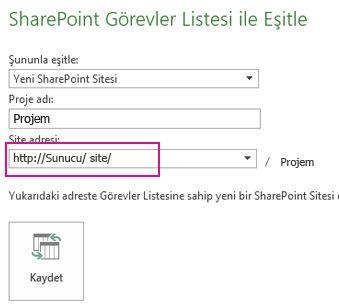 Yeni SharePoint sitesi resmine eşitleme
