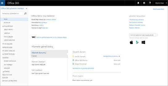Bir Skype Kurumsal Çevrimiçi Sürüm Planı'na sahip olduğunuzda Office 365 yönetim merkezinin nasıl göründüğü gösteren bir örnek.
