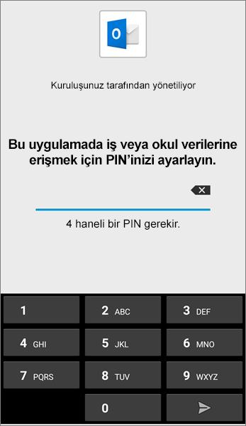 Android'de Outlook uygulaması için PIN'i ayarlayın