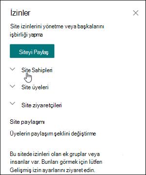 Site izinleri kutusu