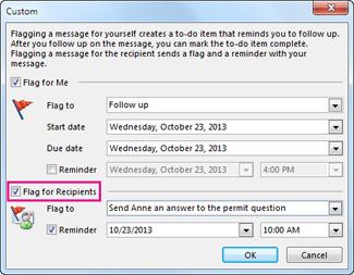 Özel iletişim kutusunda Alıcılar İçin Bayrak Ata komutu onay kutusu