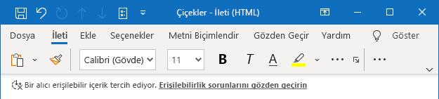 Outlook erişilebilirlik istemi