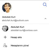 Hesabı Değiştir, hesabı ekleme veya hesaplarımdan yönetmek için seçeneği ekran görüntüsü