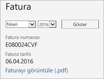 Office 365 Yönetim Merkezi'ndeki Fatura Ayrıntıları sayfası Fatura bölümünün ekran görüntüsü.