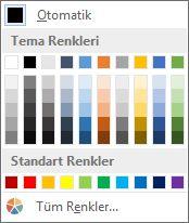 Tablo kenarlığı rengi
