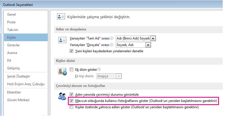 Outlook Seçenekleri penceresinin ekran görüntüsü; Fotoğrafları etkinleştir onay kutusu vurgulanmış