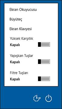 Oturum açma ekranında Erişim Kolaylığı seçenekleri