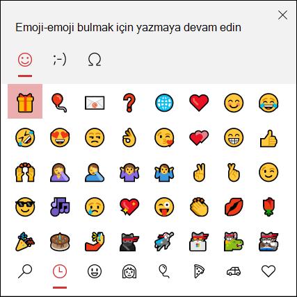Emoji eklemek için Windows 10 emoji seçicisini kullanın.