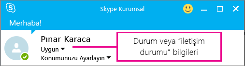 Skype Kurumsal'da bir kişinin çevrimiçi durumu ile ilgili örnek.