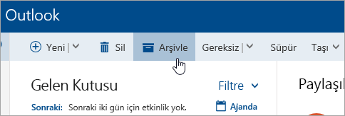 Arşivle düğmesinin ekran görüntüsü