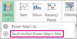Seçili Verileri Power Map'e Ekle komutu