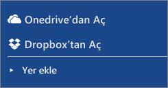 Word Online çalışma alanının yerler bölümündeki Dropbox ve OneDrive görüntüsü.