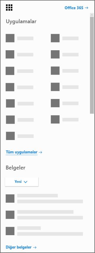Office 365 uygulama başlatıcı