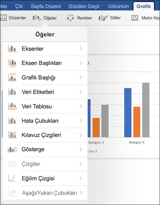 Grafik sekmesindeki grafik öğeleri, belgenizdeki özelleştirmek için Şerit'in öğeleri'ni tıklatın