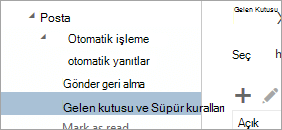 Gelen kutusu ve Süpür kuralların seçenekleri menüsünde ekran görüntüsü